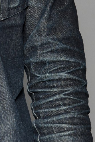 Worn in denim shirt - detail.